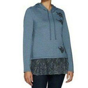 Logo Lounge Hoodie Lace Hem Embroidered Sweatshirt